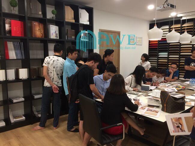 Hình ảnh lớp học thiết kế nội thất tại Hà Nội của AWE