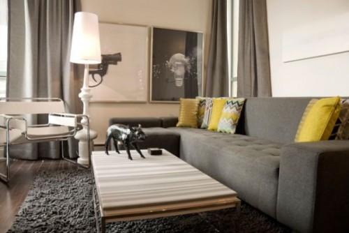 phối màu thông minh trong thiết kế nội thất hiện đại vàng xám