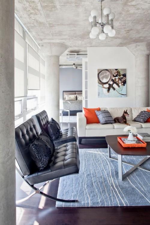 cách phối màu trong thiết kế nội thất hiện đại da cam, xám tro