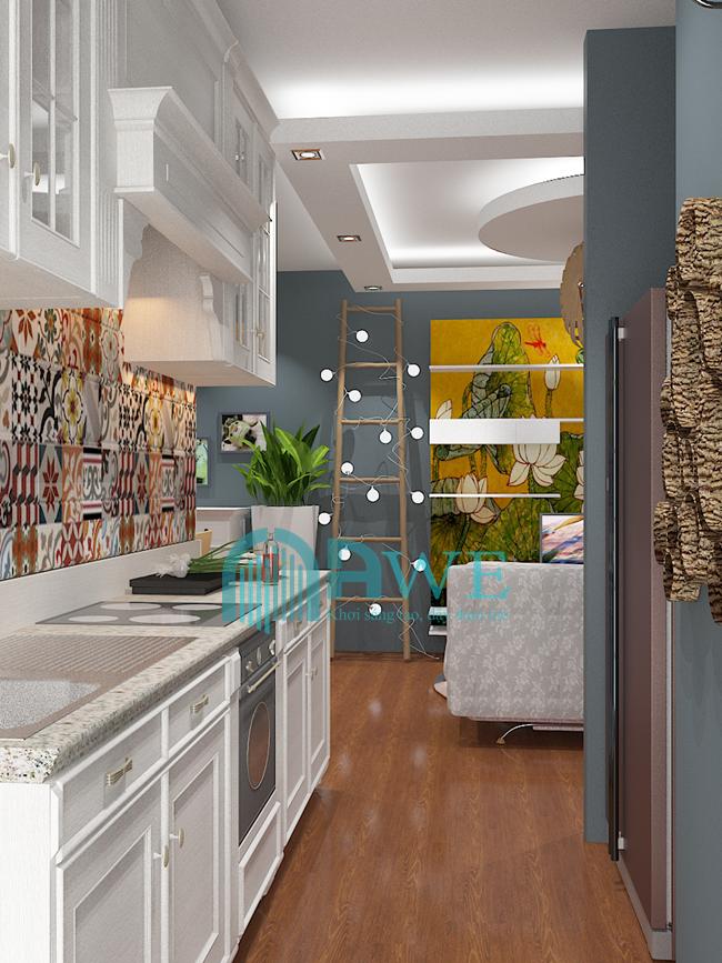học viên thiết kế nội thất chung cư phòng bếp