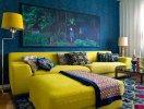 Màu xanh và màu vàng là hai màu sắc tuyệt vời trong không gian nội thất