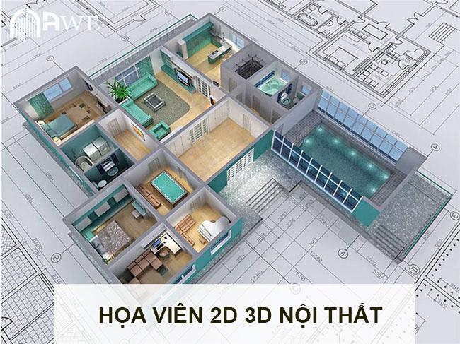 họa viên 3d 3d nội thất